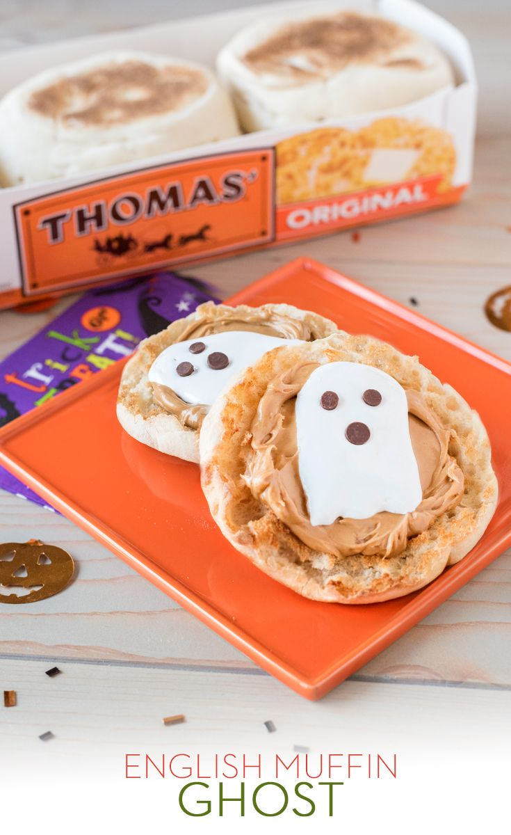 English Muffin Ghost: Not all ghosts are scary! Top a Thomas' Original English Muffin with peanut butter and marshmallow fluff and create a face with chocolate chips for a Halloween treat.