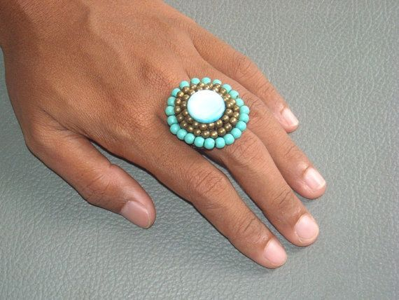 BEADED  crochet RING in TURQUOISE turquenite by ExtravaganzaBali  $8.90 USD