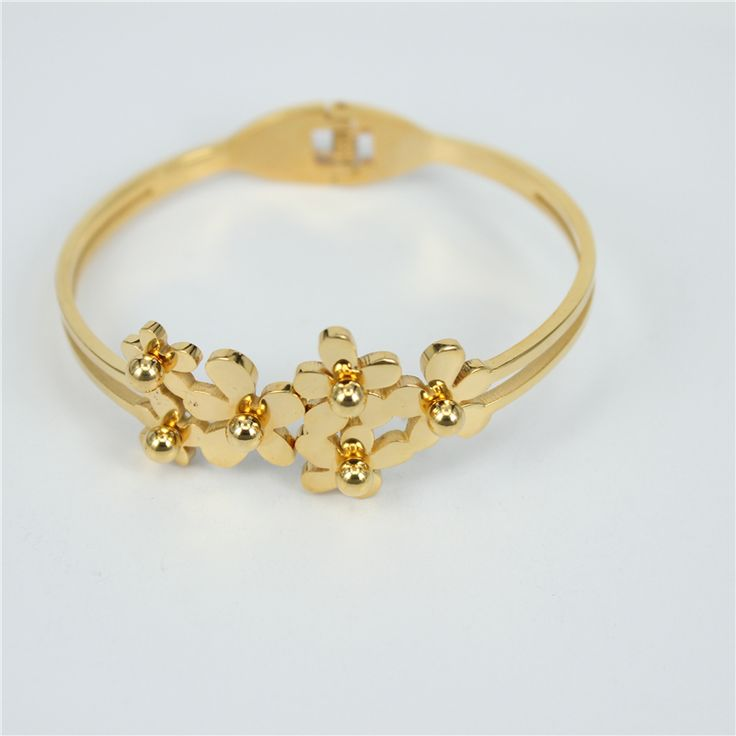 Find More Bangles Information about 316L stainless steel Flower Bangles Fashion Jewelry Free Shipping New Trendy 18K Gold Plated Bracelets Bangles For Women LH61,High Quality bangle gold,China bangle earrings Suppliers, Cheap bangles kids from Rui Xi stainless steel jewelry on Aliexpress.com