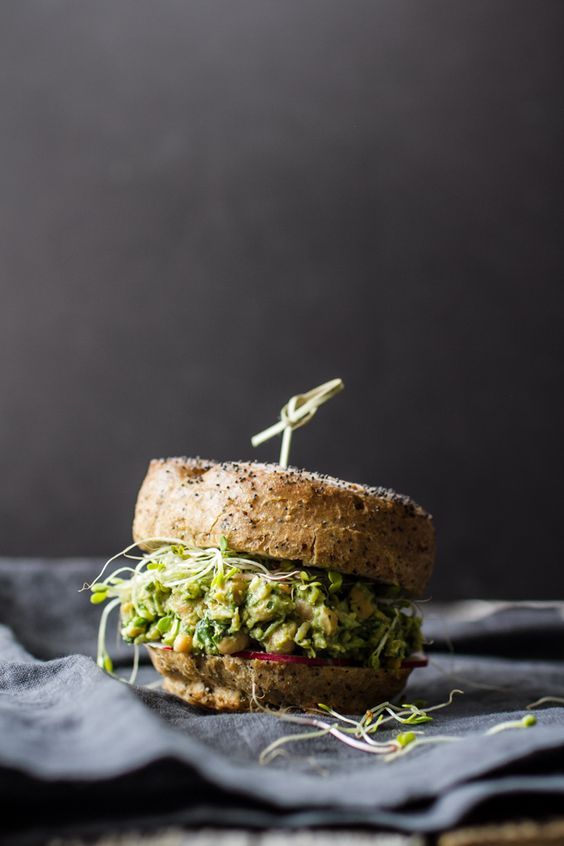 Avocado Pesto Chickpea Salad Sandwiches