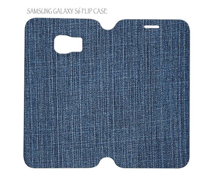 Samsung Galaxy S6 G920 Folio Flip Case Cover Jeans Denim Fabric Pattern #QuinnCafe
