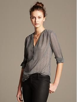 Geo Print Riviera Blouse from Banana Republic  Pair with long pencil skirt or pants/jeans; great versatile top