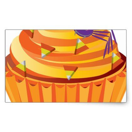 #Halloween Cupcake with Spider and Candy Rectangular Sticker - #halloween #candy #craft #supplies #party #ideas #idea