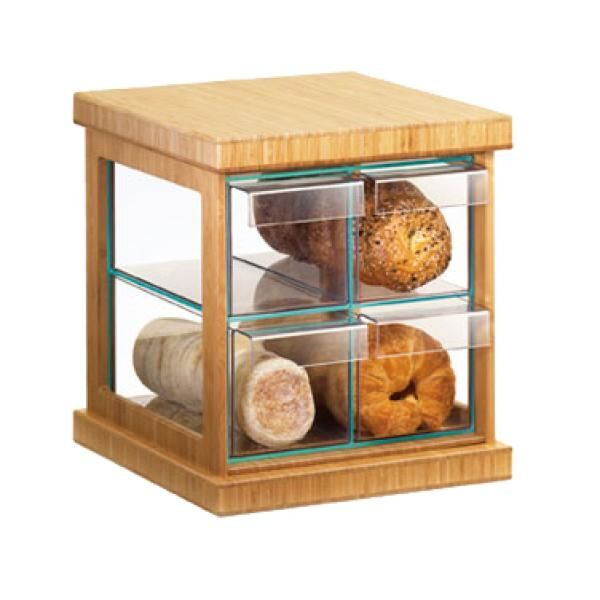 "Cal-Mil 1718-60 Bread Case, 16-1/2""W x 15""D x 15""H, 4-drawer, bamboo frame with green gl"