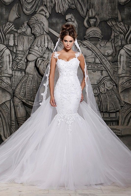 c982e7a73201f 2018 New White Ivory Mermaid Wedding Dress Lace Dress Stock size 4-18+++++  in Clothing