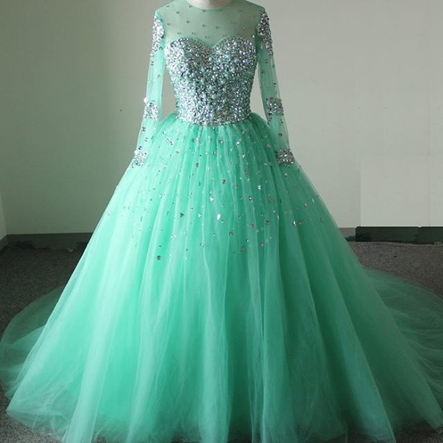 New Arrival Prom Dress,Modest Prom Dress,Sparkly mint green prom dresses,long sleeves prom dress,ball gown quinceanera dress