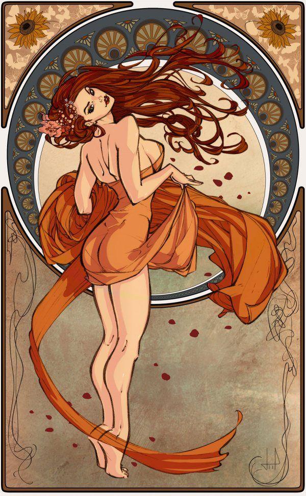 Orange and Teal.: Tattoo Ideas, Art Nouveau, Style, Illustration, Google Search, Artnouveau, Pin Up, Art Deco, Art Noveau