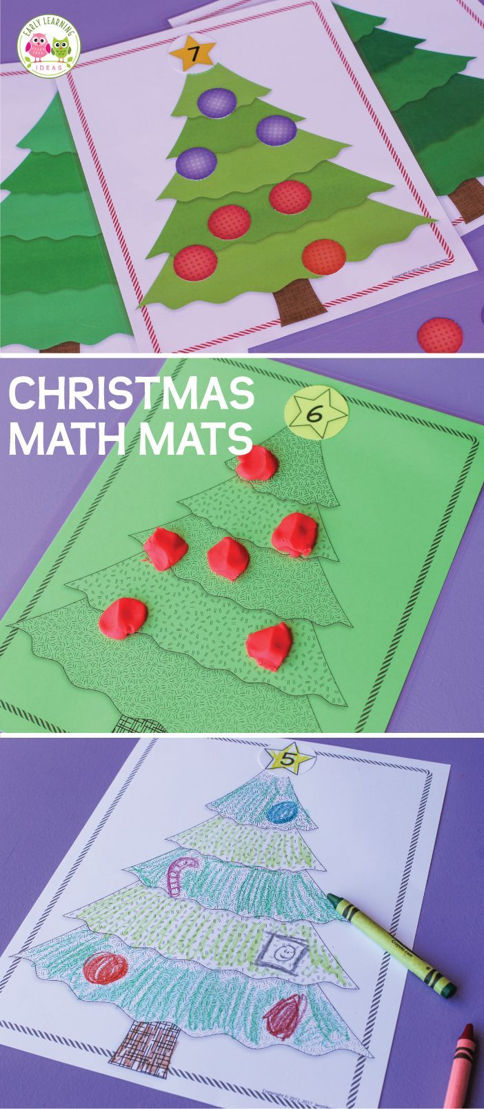 Hands-on Christmas math activities for preschool, pre-k and kindergarten. These Christmas math activity mats can be used with the printable counters or with play dough. Use the black and white version and kids can color and draw their own ornaments on the Christmas tree. Perfect for your Christmas lesson plans, your Christmas around the world, or December them units.