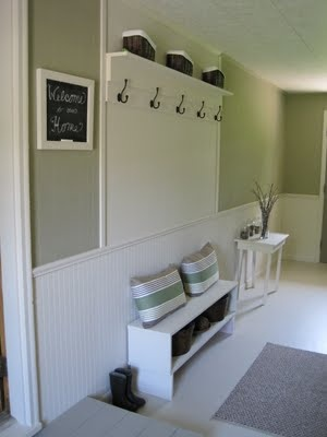 Our mud room needs a shelf and some hooks for coats and backpacks ... but at a level for the kids to reach.