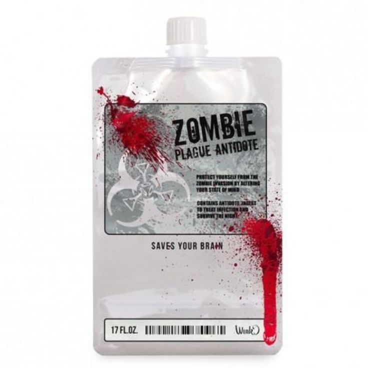 Survivez à votre soirée avec ce flasque de 500 ml ZOMBIE ANTIDOTE et ne perdez pas la tête.