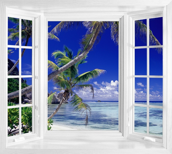 Seychelles ocean view window illusion mural windows for Beach view wall mural