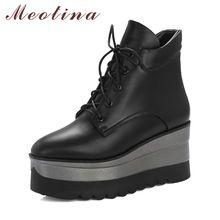 Meotina Vrouwen Winter Laarzen Platform Wedge Laarzen Punk Hoge Hakken Enkellaarsjes Herfst Vierkante Teen Lace Up Vrouwelijke Schoenen Zwart wit(China)