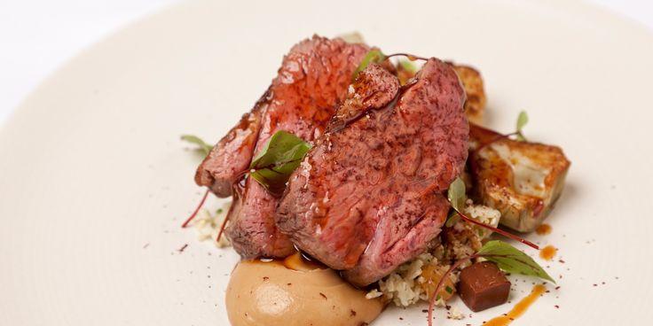 Richard Davies' pairs his stunning rump of lamb recipe with earthy cauliflower and an unusual chocolate jelly.