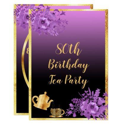 80th Birthday Tea Party Invitation Black Purple