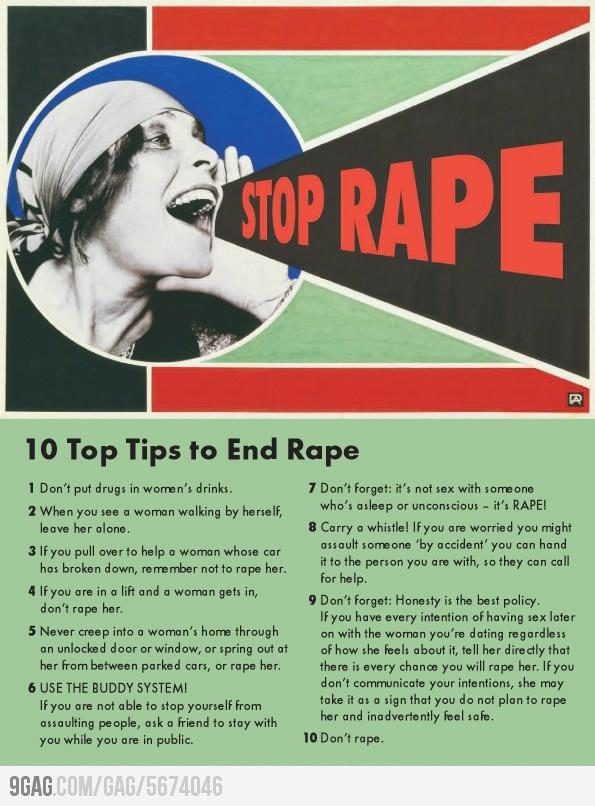 10 Tips to End Rape-- Rape is not a woman's fault.