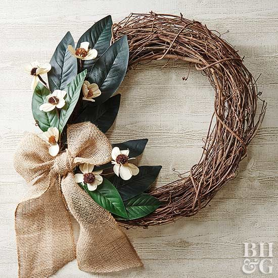 Magnolia leaves and burlap...need we say more?