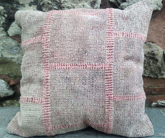 Kilim Patchwork Pillow, Pink, Unique Flat Woven Pillow, 24 inches square, rug pillow, organic pillow, vintage and antique pillow.