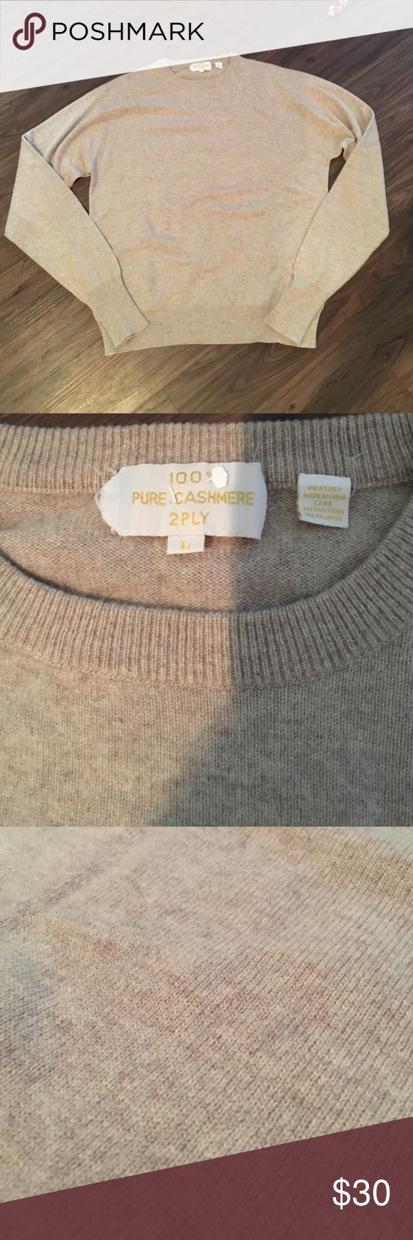 Men's cashmere sweater Size L oatmeal cashmere sweater. Recently dry cleaned, no snags or holes. Sweaters Crewneck