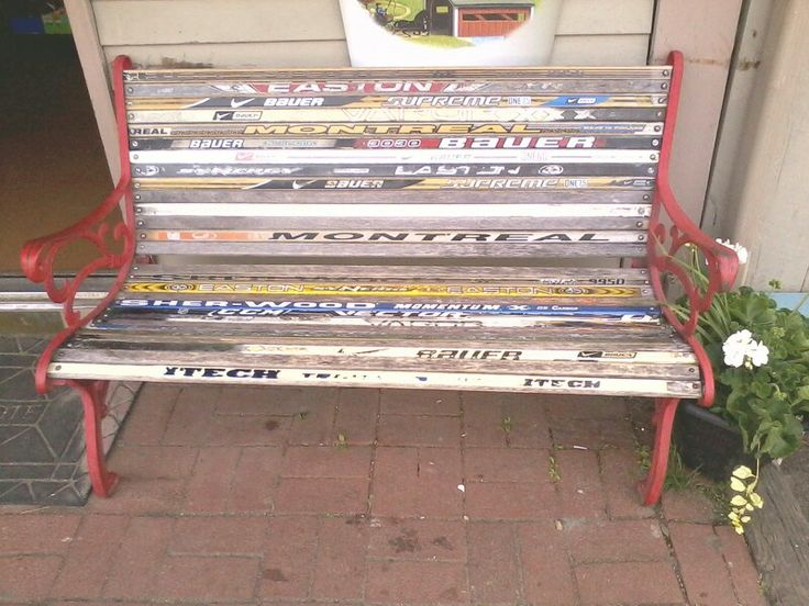 Hockey stick bench great use for old/broken sticks!!!