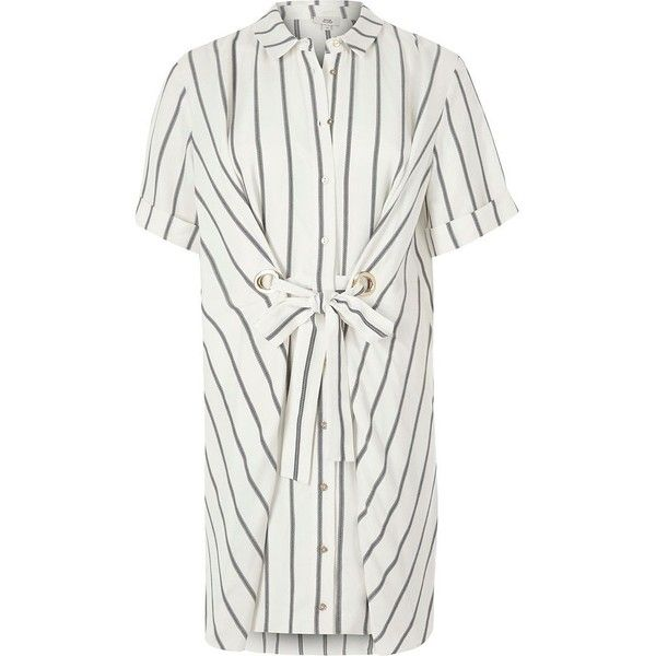 River Island Petite white stripe eyelet tie shirt dress ($92) ❤ liked on Polyvore featuring dresses, white, women, petite dresses, striped dress, white dress, white shirt dress and striped shirt dresses