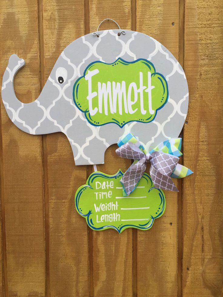 Baby Elephant Nursery/Hospital Door Hanger by craftigirlcreations on Etsy https://www.etsy.com/listing/266480393/baby-elephant-nurseryhospital-door