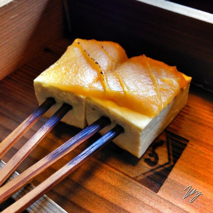 "2012/12/15 Photo Diary:  Food in Kyoto  京都に来ると、お店等で日常的に供される「焼き田楽」。豆腐、筍や麩など、このスタイルで食すと、普段とまた違う感覚に出会える。 なんでも焼けば食える、という原始的なやり方に加え、味噌をつけて同じ味にしてしまう、という食べ方は、あらためて見ると、強引な方法ではあるが、その昔、新鮮食材の入手が困難だったが故に、長年育まれた加工食文化の域なのだと思う。  ""Yaki-Dengaku"" You can meet the unique food style when you visit in Kyoto.  from iPhone camera"
