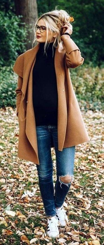 #fall #outfits  women's brown coat
