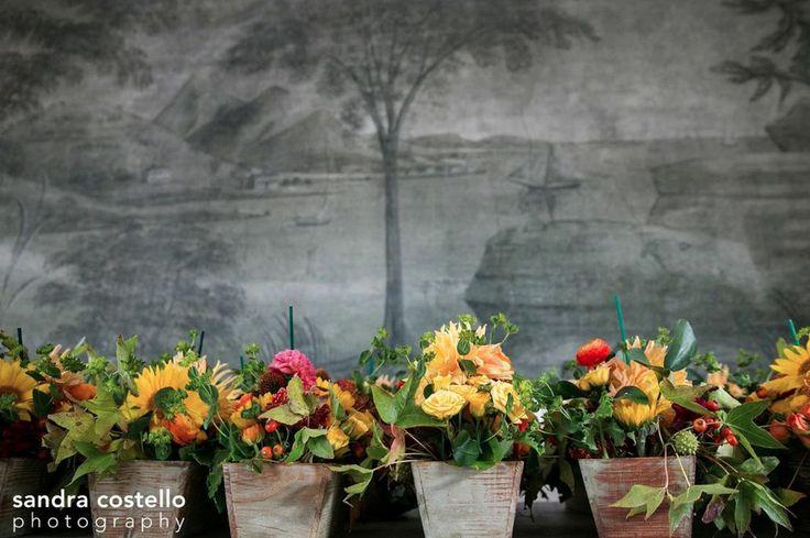 flowers in vintage wine boxes