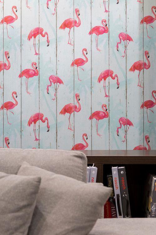 papel-de-parede-flamingo sofá bege decoração moderna