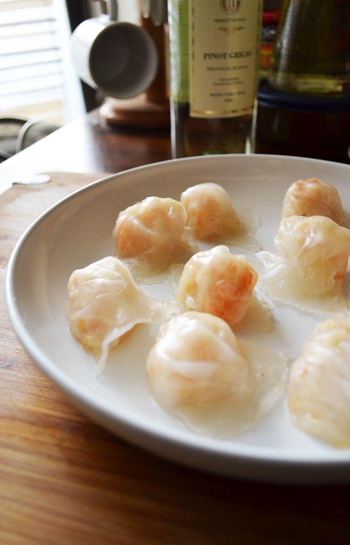 Paper thin Shrimp Dumplings - roll small balls of dumpling ...