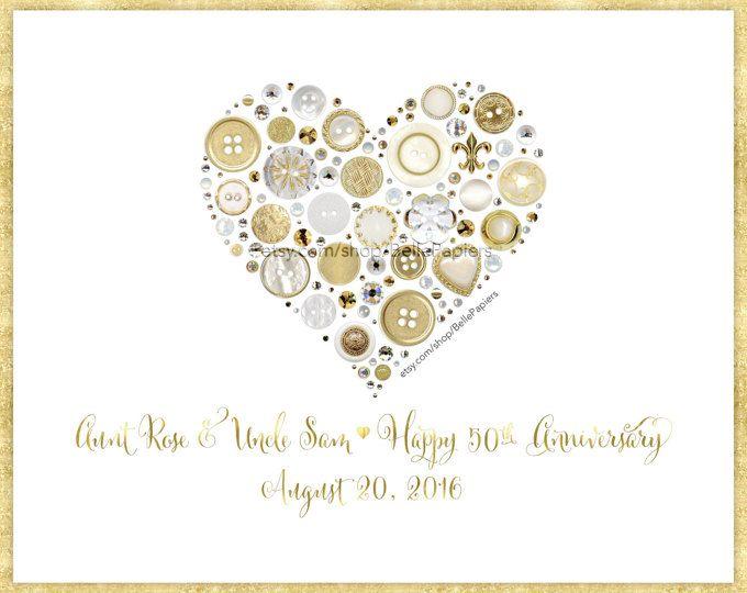 Golden Anniversary Gifts Framed Heart Gold Button Art Fiftieth Anniversary 50th Annive Golden Anniversary Gifts Anniversary Frame Anniversary Gifts For Husband