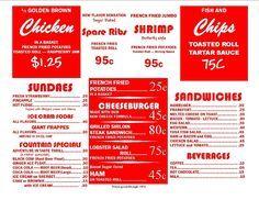 free 50s diner logo printable | Menu Items
