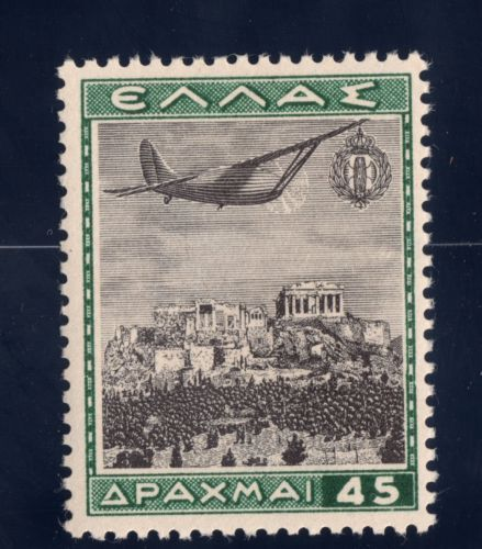 Greece Air Post Stamp 1940 SC C44 45d MH OG Dark Green & Black Acropolis, Athens
