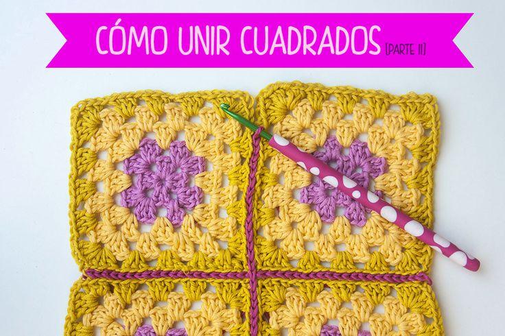 VIDEO TUTORIAL Cómo unir cuadrados con punto raso | How to join crochet squares with the slip stitch