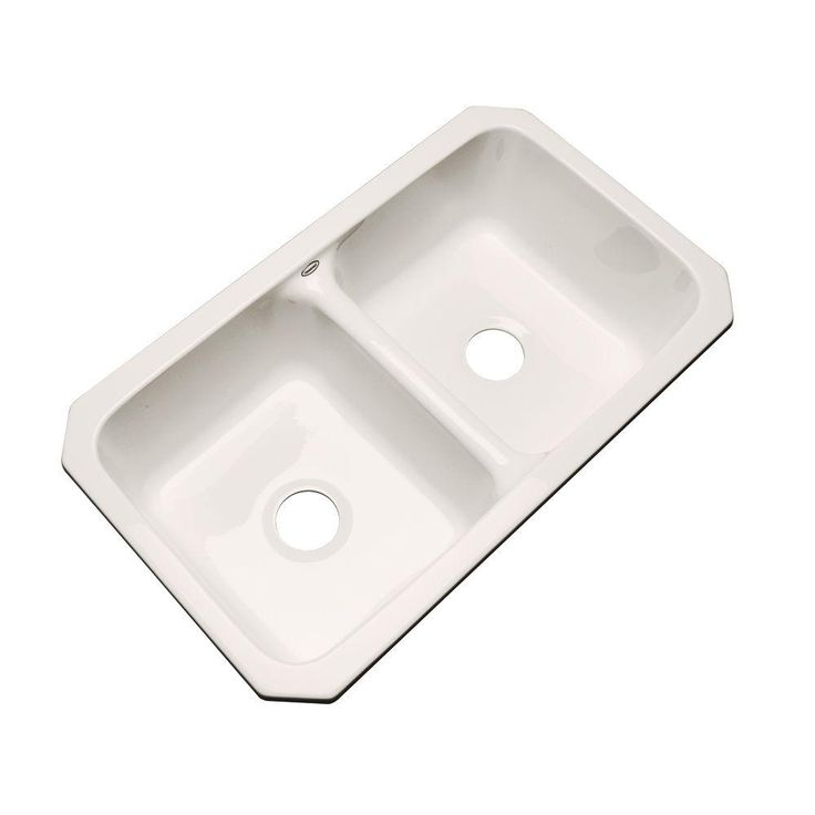0 hole double basin kitchen sink in bone ivory - Kitchen Sink Double