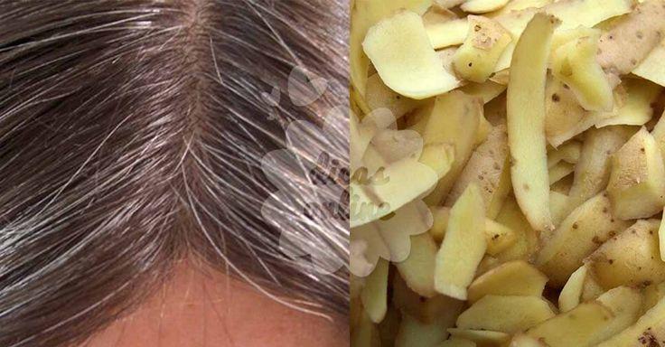 Escureça os cabelos brancos naturalmente com cascas de batatas!
