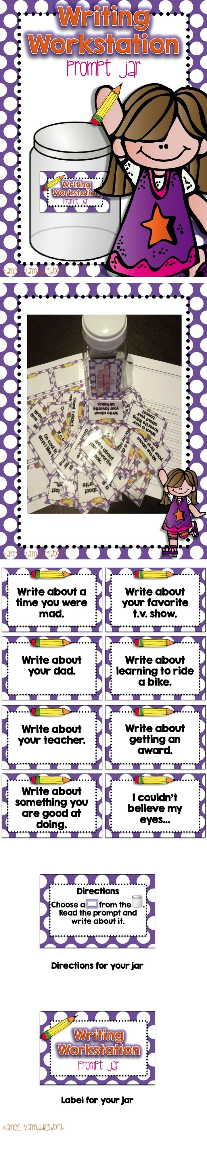 Writing Prompt Jar full of prompts for your writing workstation or an early finishers activity!