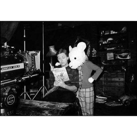 Paul and Rupert Bear during a shoot for 'We All Stand Together' #TBT #1984