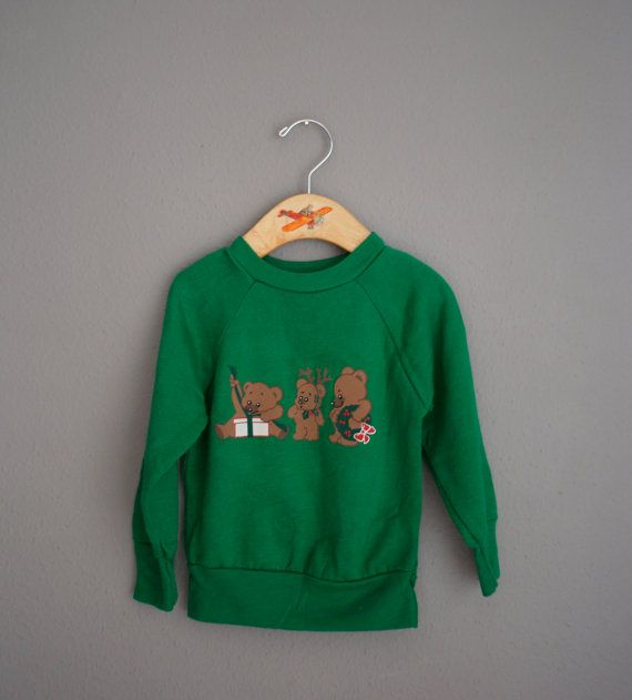 Vintage 80s GREEN Teedy Bear CHRISTMAS Pullover by heightofvintage