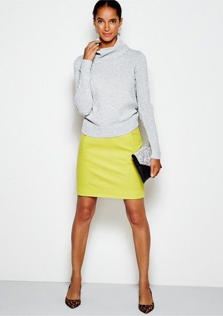 turtleneck sweater, pencil skirt and heels.  i have all of these but would have never put them together. JCrew Factory