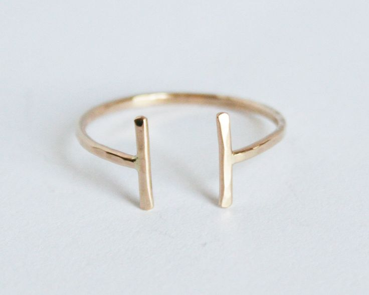 Open Thin Gold Ring, Thin Hammered 14kt Gold Filled Ring, Adjustable. $46.00, via Etsy.