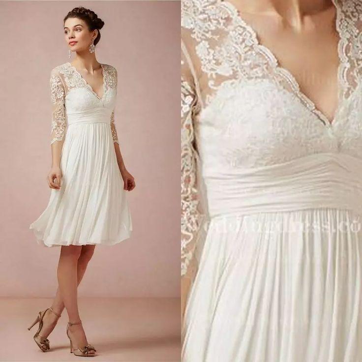 Sapphire Bridal Vintage Wedding Dress 3 4 Sleeve White: 17 Best Ideas About Knee Length Wedding Dresses On