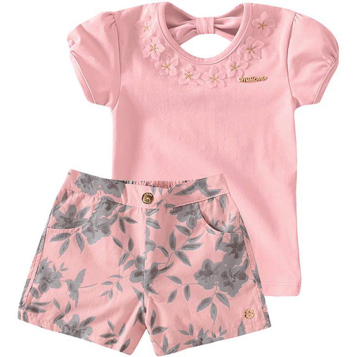 Conjunto Infantil Feminino com Shorts Floral Rosa