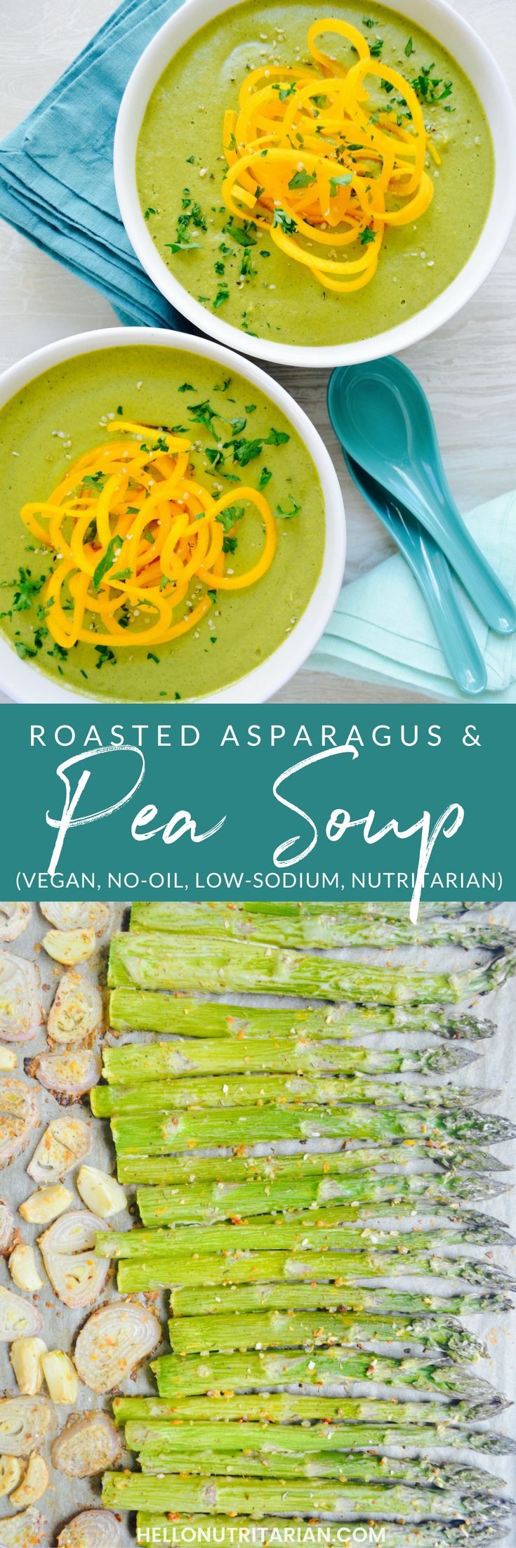 "Roasted Asparagus & Pea Soup Recipe | vegan, oil free, low sodium, whole food plant based, and nutritarian!  What I love most about this soup recipe is that you do all of the cooking on a sheet pan, letting the veggies roast and caramelize and develop amazing flavor!  Shallots, garlic, asparagus, peas, veggie stock and almond milk all combine into a bright, creamy soup that's perfect for fall!  Click through for the full printable recipe and how to make a spaghetti squash ""bread bowl"" too!"