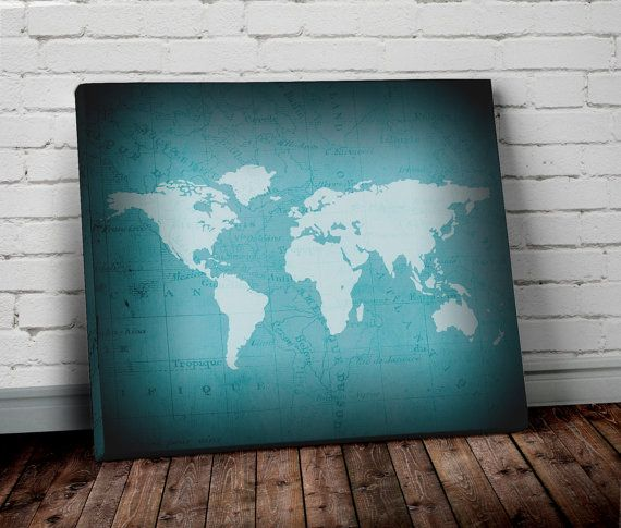 24 best wall art prints images on pinterest world map wall art turquoise world map wall art canvas world map by allymacdesign sciox Images