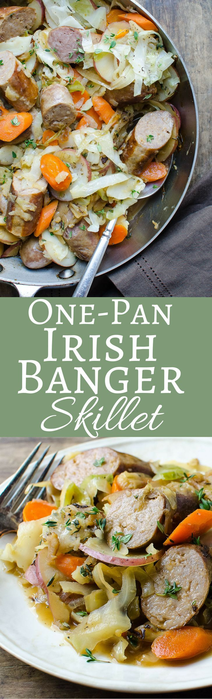 This easy one pan dinner is perfect for St. Patty's Day! Irish Banger Sausages, red potatoes, carrots and cabbage round out this meal!