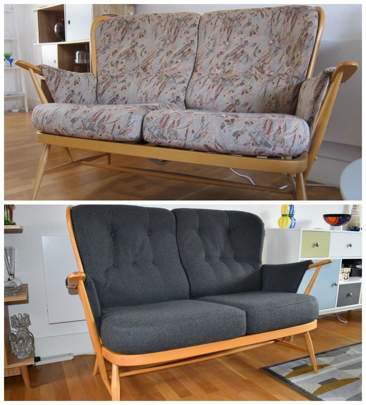 Before and after: Ercol sofa brought up to date by reupholstering the cushions in grey wool Sanderson fabric