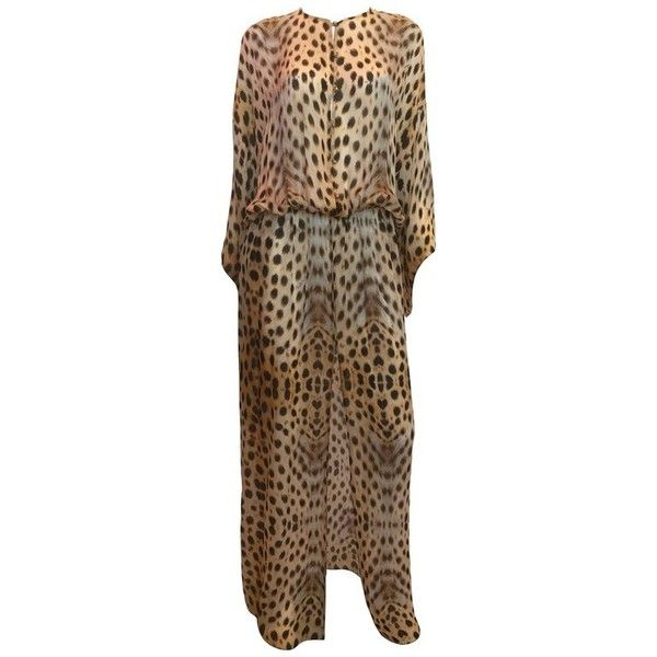 Preowned Roberto Cavalli Silk Leopard Print Dress (3.815 BRL) ❤ liked on Polyvore featuring dresses, brown, maxi dress, maxi dresses, vintage silk dress, stretch dresses, roberto cavalli dresses and vintage maxi dresses