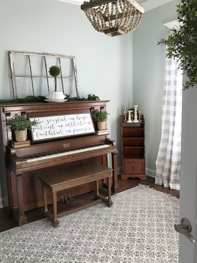 Piano Room. This is a 100-year old piano found on Craigslist. Home office with piano. Farmhouse style piano room. Piano room #pianoroom #farmhouse Beautiful Homes of Instagram @ourvintagenest