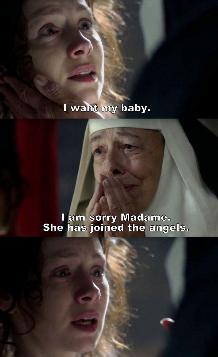"""Outlander S02E07 """"Faith"""" Caitriona Balfe as Claire Fraser and Frances De La Tour as Mother Hildegard"""